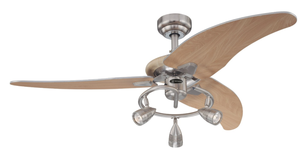 Westinghouse 7850500 Elite Three-Light 48-Inch Three-Blade Indoor Ceiling Fan, Brushed Nickel with Three Brushed Nickel Spotlights