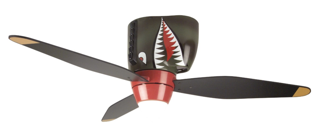 Craftmade WB348TS 48-Inch 3-Blade Warplane Ceiling Fan with Integrated Light Kit, Tiger Shark
