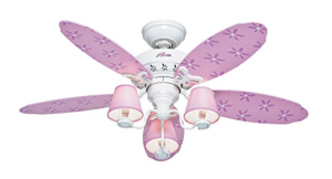 Hunter Dreamland 44-in White and Pink Kids Downrod or Flush Mount Ceiling Fan with Light Kit