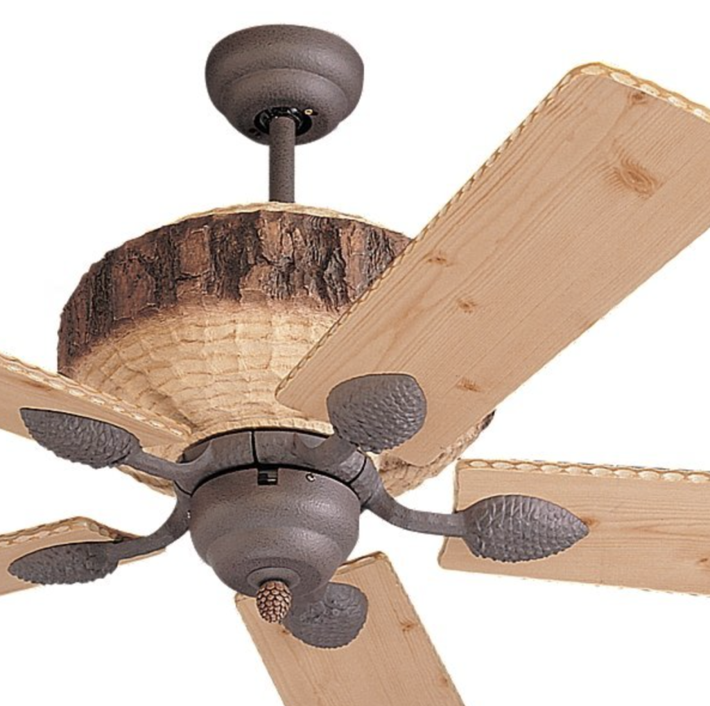 Monte Carlo 5GL52WI, Great Lodge Ceiling Fan, 52'', Weathered Iron w: Lodge Pine Blades - detail