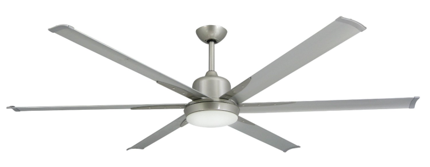 TroposAir Titan Brushed Nickel Large Industrial Ceiling Fan with DC-Motor, 72-inch Extruded Aluminum Blades, Commercial, Integrated Light and Remote
