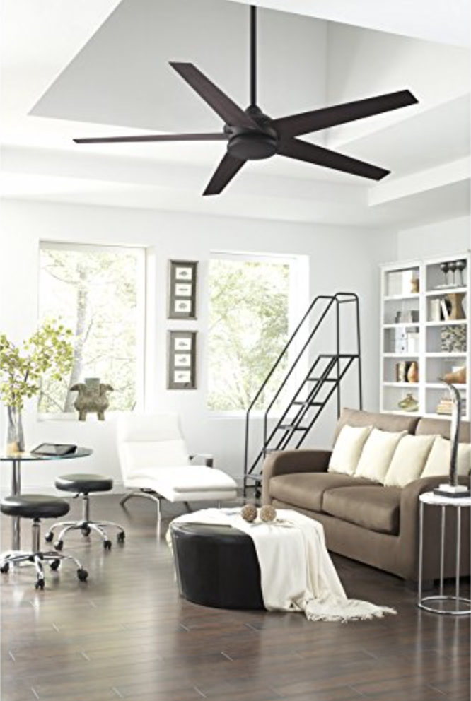 Fanimation Studio Collection Covert 64-inch Dark Bronze Downrod Mount Indoor:Outdoor Ceiling Fan with LED Light Kit and Remote Control ENERGY STAR - living room