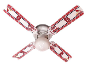 Designers Ceiling Fan, Mlb St. Louis Cardinals Baseball ceiling fan 42-inch