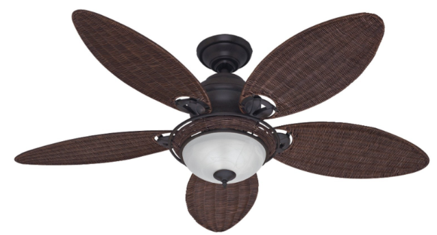 Hunter Fan Company 54095 Caribbean Breeze 54-Inch Tropical Ceiling Fan with Five Antique Dark Wicker Blades and Light Kit