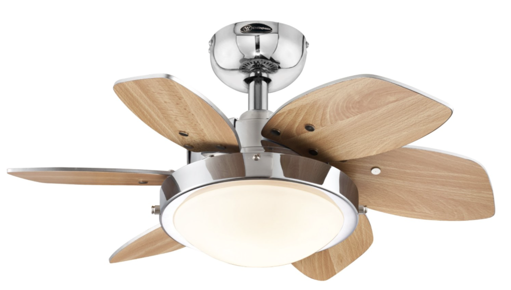 Westinghouse 7863100 Quince Two-Light 24-Inch Reversible Six-Blade Indoor Ceiling Fan - two design blades