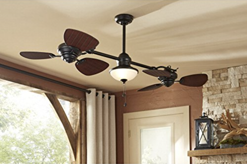 Harbor Breeze Twin Breeze Ii 74-in Oil-rubbed Bronze Outdoor Downrod Dual Gyro Ceiling Fan